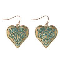 Patina Gold Heart Earrings