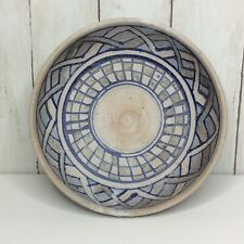 Vintage Stoneware Bowl Blue Glazed Art Pottery Hand Thrown Signed 1975 Bohemian