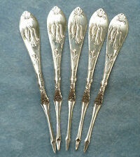 5 Victorian Silverplate Picks Hanging Game Woodcock Squirrel Patent 1876