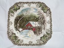 "Johnson Brothers ""Friendly Village"" 7 5/8"" Square Salad Plate - Covered Bridge"