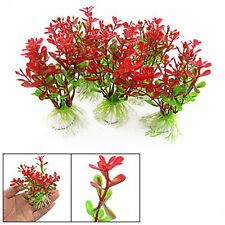 5Pcs Red Green Plastic Plant Decor & Ceramic Base for Fish Tank Aquarium New
