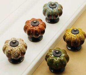 Ceramic Door Knobs. Vintage Pumpkin Style. 5 Classic Colours. Drawer Pulls.