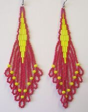Seed Bead Earrings Native Inspired Yellow & Red Handmade In USA By Me 4.5