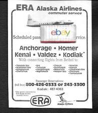 ERA ALASKA AIRLINES CONVAIR 580 COMMUTER SERVICE ANCHORAGE-KENAI-HOMER-VALDEZ AD