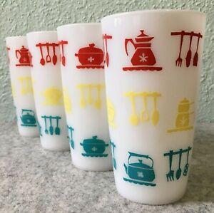 Hazel Atlas Milk Glass Kitchen Aids Tumblers Red Yellow Turquoise Utensil Design