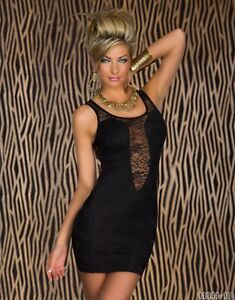 Women's Bodycon Lace Mini Dress Fitted Round Neck Club Dress floral pattern UK