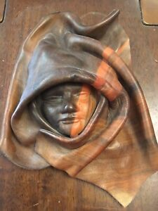 Vintage Leather Mask Wall Hanging Decor Signed By G.Binst (2 Of 3 Listed)