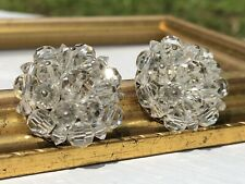 Vintage Clear Faceted Beads Cluster Clip On Earrings