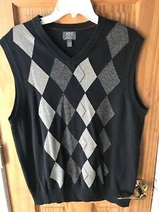 Joseph Abboud Argyle 100% Cotton Sweater Vest - black - Men's Large EUC