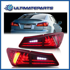 Pair Red Rear Lamps LED Tail Lights Turn+Fog+Brake For 06-12 Lexus IS350 IS250