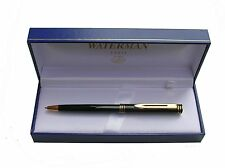 WATERMAN EXCLUSIVE BLACK LAQUERED & GOLD BALLPOINT PEN NEW IN BX MADE IN FRANCE