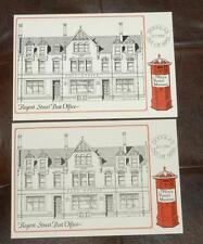 2x Gb Manx Postal Museum Postcards No.1 Postbox Regent Street Post Office 1831