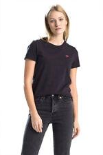 Levi's Women T-Shirt Black Cotton The Perfect Tee Casual Gym Fashion 39185-0008