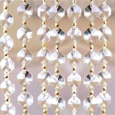 10FT Clear Crystal 14mm Octagon Garland Chain Gold Connectors Wedding Decor DIY