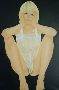 Ulrich Schichhold (1942 - 2012) PIN UP Akt Nude Acrylgemälde  signiert 108 x 79