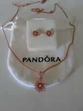 Authentic Pandora Rose Necklace and matching daisy Earrings gift Set