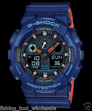 GA-100L-2A Blaue G-Schock Casio Uhren 200m Resin Band Analog Digital New Light