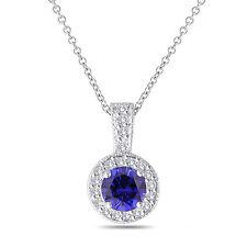 Platinum Blue Sapphire And Diamonds Pendant Necklace 1.23 Ct Halo Pave Handmade