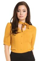 SALE VOODOO VIXEN Candice Neck Bow Button Down TPA1835 Yellow Vintage Retro UK