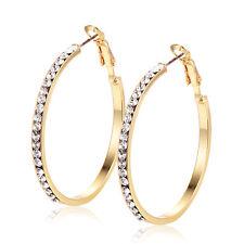 Vintage womens crystal big hoop earrings Korean Yellow gold filled wholesale lot