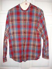 LizWear shirt size M Medium LS EUC button down red blue plaid mandarin collar