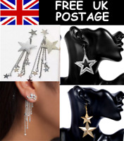 STAR STARS LARGE LONG LIGHTWEIGHT EARRINGS - 4 STYLES IN GOLD TONE & SILVER TONE