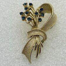 Vintage FLOWER BOUQUET BROOCH pin Blue Rhinestone Gold Tone Costume Jewelry
