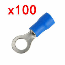 100pcs Blue Metal Ring Terminal Connector 14-16 AWG Electrical Wire Crimp RV A
