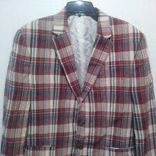 Chaps Men's 46R Red Blue Cream Plaid Madras Cotton Blazer Sport Coat Jacket
