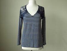 NWT White house black market lace yoke blue striped tunic top size M
