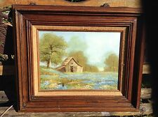"""Oil Paint signed By Carl Madden .  Wood Framed 24""""x20"""" Cabin On The Woods"""