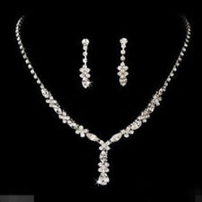 Silver Diamante Crystal Jewellery Necklace Earrings Set Wedding Bride Prom Party
