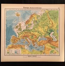 Vintage 1928 Map of Europe Leaf from Westermann Colorful Vibrant VG