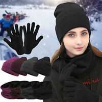 Winter Beanie Hat Scarf Gloves Set Fleece Warm Balaclava Tactical Cap Women Men