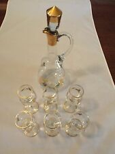 Bohemia Glass decanter with gold leaf fern design 6 Cordial Glasses