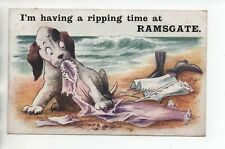 I'm having a ripping time at Ramsgate. Dog themed Comic postcard