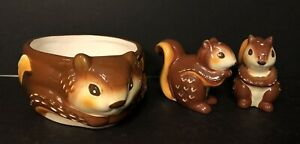 Better Homes & Gardens Ceramic Squirrel Bowl & Matching Salt & Pepper Shakers