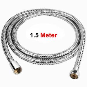 Long Shower Hose Pipe 1.5M Flexible Stainless Steel Chrome Standard Bathroom UK