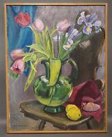 Ruth Dolmetsch (1918-2000 Stuttgart) - Stillleben mit Tulpen und Muschel (D68)