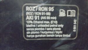 BMW Label 71228661542 RON95 Unleaded petrol only