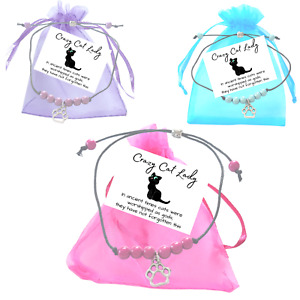 Crazy Cat Lady Miracle Bead Wish Bracelet Paw Print Charm Small Verse Card