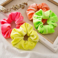 4pcs Fluorescent Color Scrunchies Elastic Hair Ties Ponytail Holder Hairband_UK