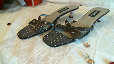 VAN ELI heels  Size 10 N SANDALS BROWN & WHITE polka dot open toe  X straps