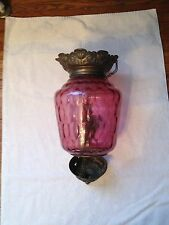 Beautiful European Cranberry Hanging Hall Lamp brass 1880-1890 antique original