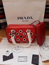 Prada Tasche Bag+Kosmetiktasche Leder Rot Medium Original Neu