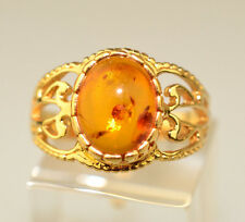 GOLDPLATED GENUINE AMBER RING WITH OPENWORK FILIGREE SIDES SIZE 7.25