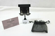 BEAUTIFUL HANDMADE SILVER/BLACK SMALL FAN EARRINGS WITH ORGANZA BAG & BACKS