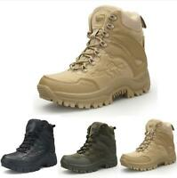 Mens High Top Military Tactical Boots Hiking Combat Ankle Boots Desert Army Flat