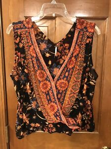 Anthropologie Free People Floral Cropped Front V-neck Tank Size Small Medium