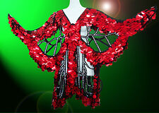 Red Sequin Butterfly Coat Dance Dress Showgirl Drag Queen Cabaret Costume